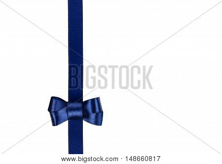 Blue satin ribbon tied in a bow isolated on white background. Gift or present concept.