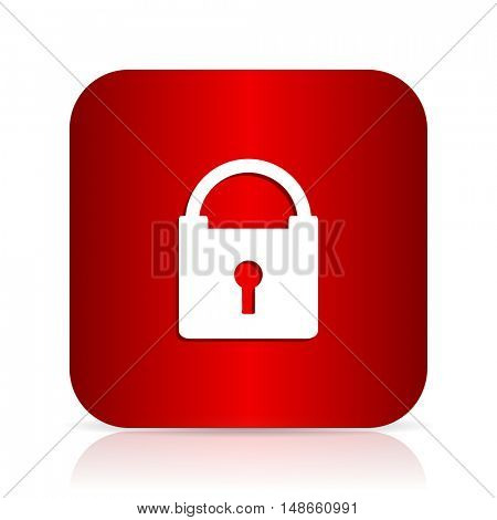 padlock red square modern design icon