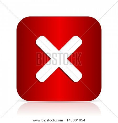 cancel red square modern design icon