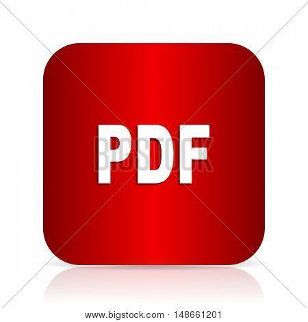 pdf red square modern design icon
