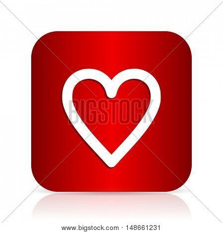 heart red square modern design icon