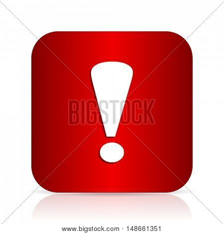exclamation sign red square modern design icon