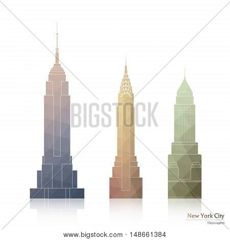 May 01 2016: Collection of Icons of three Famous Skyscrapers of New York city style polygonal: Empire State Building Chrysler Building - For Editorial Use Only