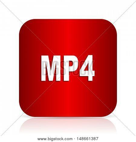 mp4 red square modern design icon