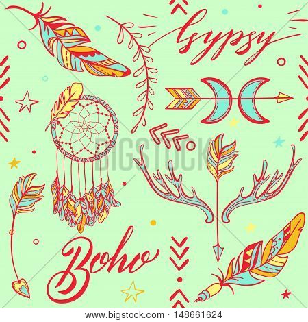 Vector Seamless Pattern consist of Ornamental Boho Style Elements. Trendy background of tribal symbol