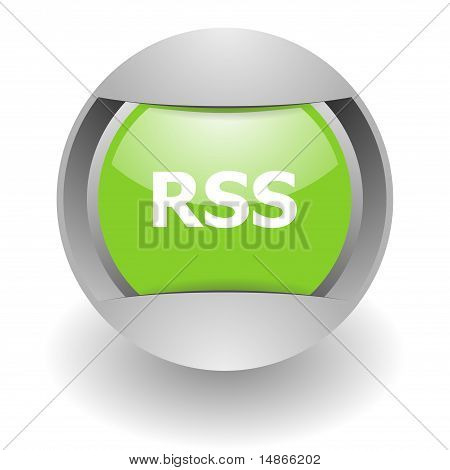rss steel green glosssy icon