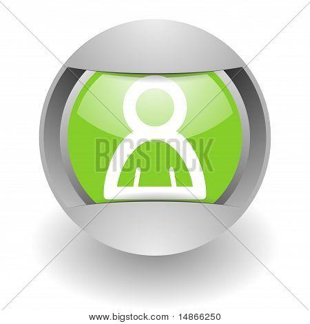 friend steel green glossy icon