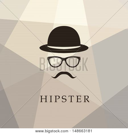 Vintage silhouette of bowler mustaches glasses. Vector illustration of gentleman or hipster. Logo template of gentleman Club.