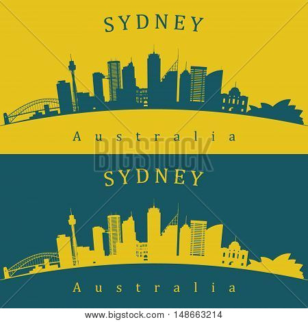 Two Sydney skylines in green and yellow background. Editable vector file.