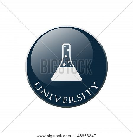 Chemical flask Icon on Round dark blue Button Collection. Vector Illustration