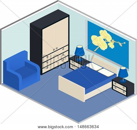 Modern design of cozy bedroom with furniture. Interior in isometric style in blue colors. Vector 3D illustration.