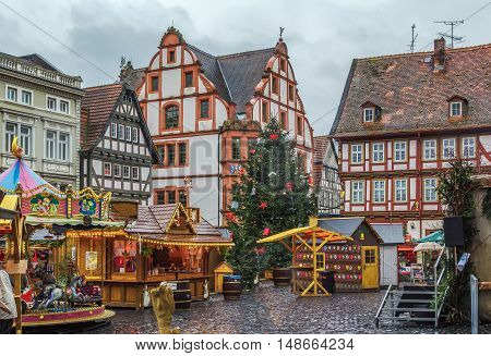 Historic main square of Alsfeld with christmas market Germany