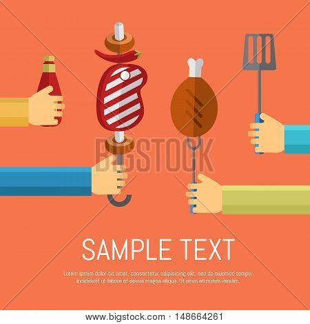 Vector illustrations BBQ poster. Hands on different sides of the screen offer barbecue on red background. Food flayer. Summer weekend picnic, backyard party banner in flat style with space for text