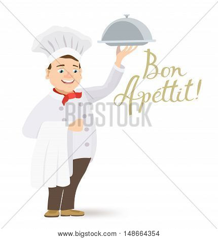 cartoon happy chef holding a platter with bon apettit message