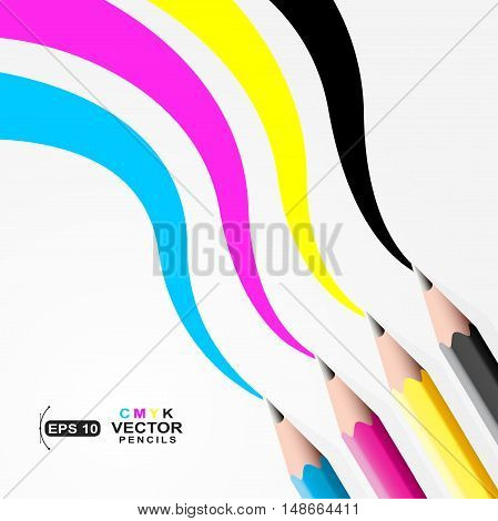 CMYK pencils.Trace left by CMYK pencils sample