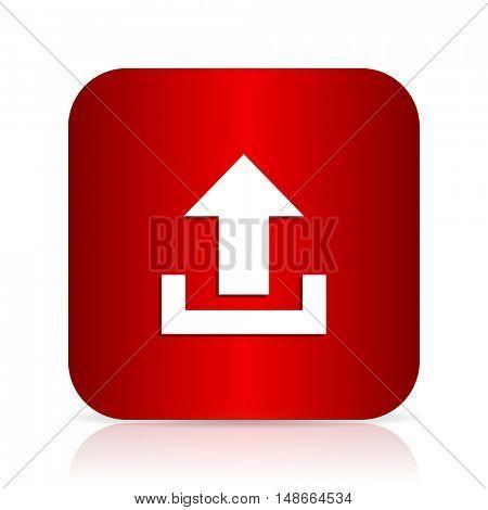 upload red square modern design icon