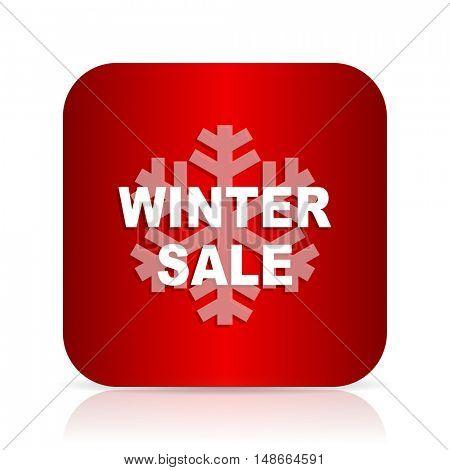 winter sale red square modern design icon