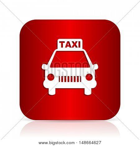 taxi red square modern design icon
