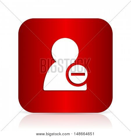 remove contact red square modern design icon