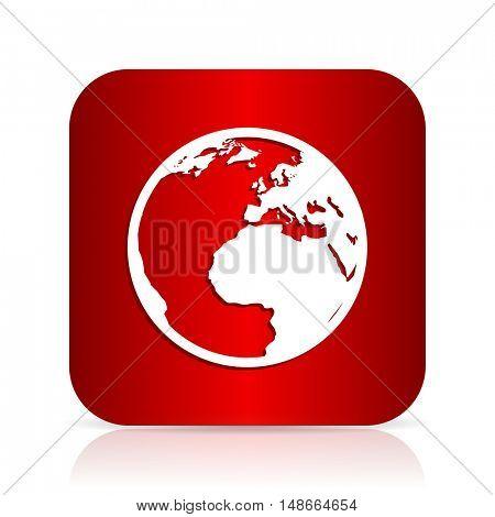 earth red square modern design icon
