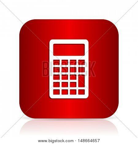 calculator red square modern design icon