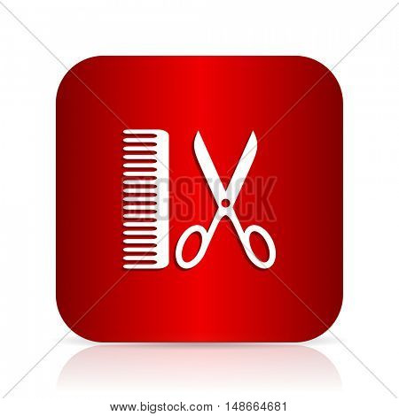 barber red square modern design icon