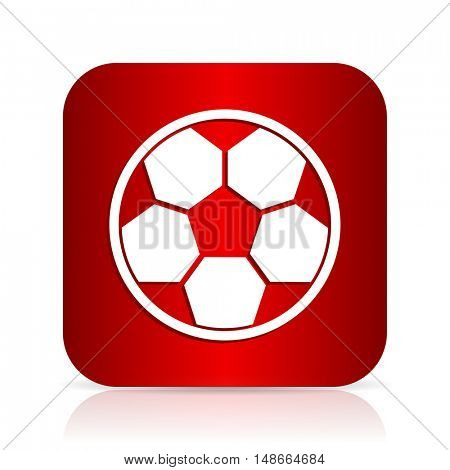soccer red square modern design icon