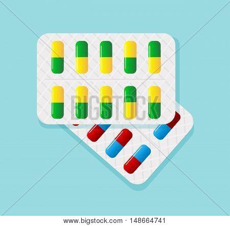 Pills in blister pack.Tablets in blister pack.Tablet pills medical drug pharmacy.Capsule packaging