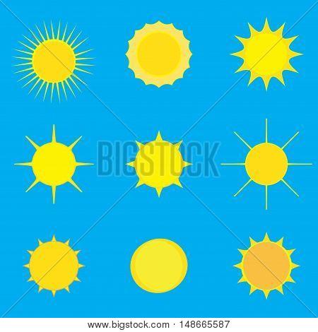 Sun icons set. Sun burst star pattern. Sun star, summer, nature, sky, summer. Sunshine sun background. Sun silhouette. Sun isolated on blue background. Vector illustration
