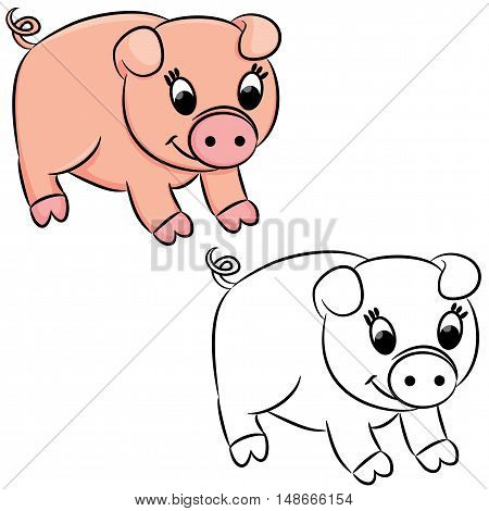 Cartoon pig for coloring book. Vector illustration