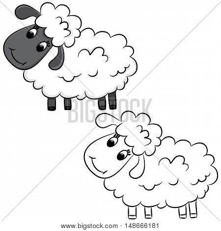 Cute cartoon doodle sheep. Vector illustration isolated