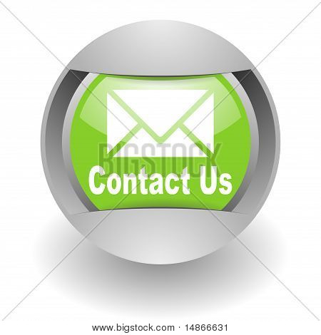 contact us steel green glosssy icon