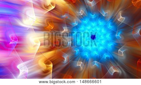 Exotic flower. Exotic petals dandelion. 3D surreal illustration. Sacred geometry. Mysterious psychedelic relaxation pattern. Fractal abstract texture. Digital artwork graphic astrology magic