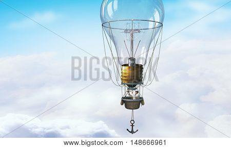 Man traveling in aerostat . Mixed media