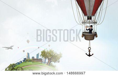 Woman traveling in aerostat . Mixed media