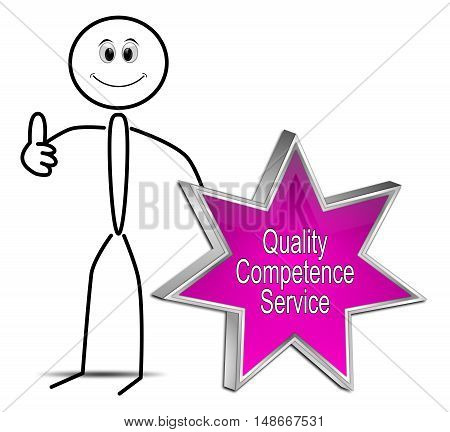 Stickman with Quality Competence Service Star Button - 3D illustration