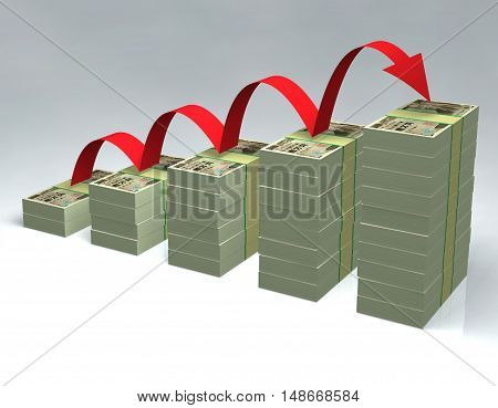 Stacked yen bills 3D money cash pilled rise financial