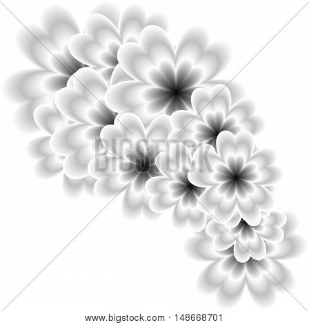 gray abstract background full of flowers suitable as a container or greeting