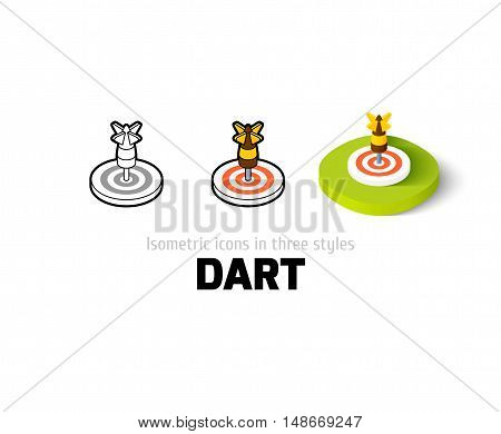 Dart icon, vector symbol in flat, outline and isometric style