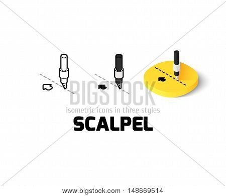 Scalpel icon, vector symbol in flat, outline and isometric style