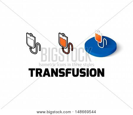 Transfusion icon, vector symbol in flat, outline and isometric style
