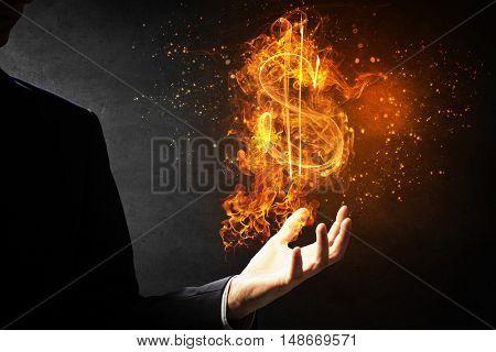 Dollar symbol in fire . Mixed media