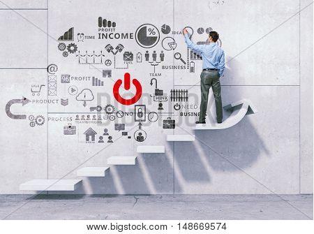 Man presenting teamwork concept . Mixed media