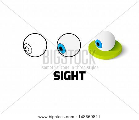 Sight icon, vector symbol in flat, outline and isometric style