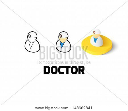 Doctor icon, vector symbol in flat, outline and isometric style