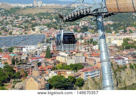 Cableway, cable car funicular. on narikala fortress Tbilisi Georgia