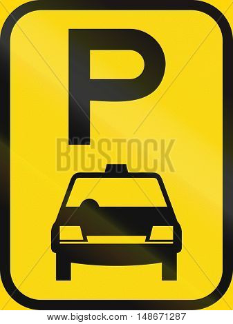 Temporary Road Sign Used In The African Country Of Botswana - Parking For Taxis