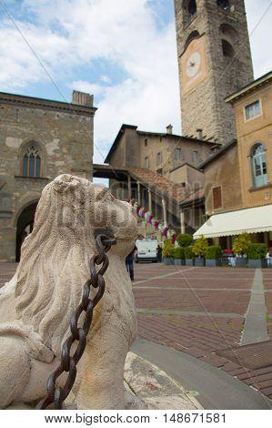 Bergamo Old Town. Piazza Vecchia. Town hall