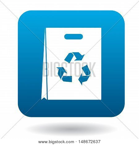 Paper shopping bag with recycling symbol icon in simple style on a white background