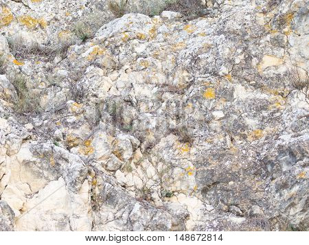 beautiful rough surface of the stone with solid patches of different shapes and colors and cracks